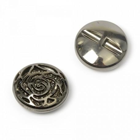 Пуговица пришивная 'Роза' цв.03 т.никель 38 мм А