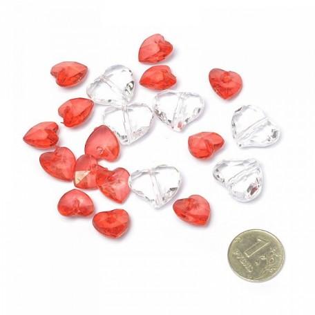 Бусинки декоративные Сердца арт.DF.24922853 цв.красный 1,8х1,6см уп.20шт