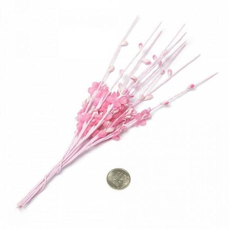 Веточка декоративная, букетик С-1002 цветочек ткань арт.КЛ.22831 цв. розовый 22см