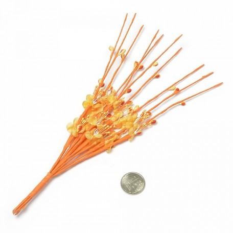 Веточка декоративная, букетик С-1003 цветочек ткань арт.КЛ.22832 цв. оранжевый 22см