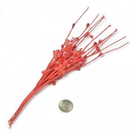 Веточка декоративная, букетик С-1004 цветочек ткань арт.КЛ.22833 цв. красный 22см