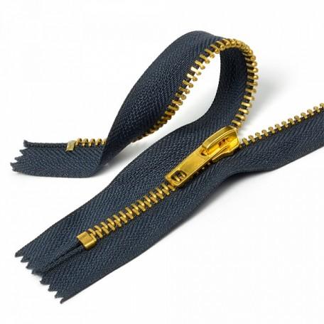Молния джинсовая золото №5, 18 см., цв.F330 синий