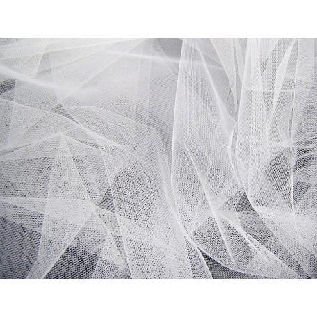 Фатин Д02 арт.17646 средней жесткости шир.160см цв.белый фас.45,7 м