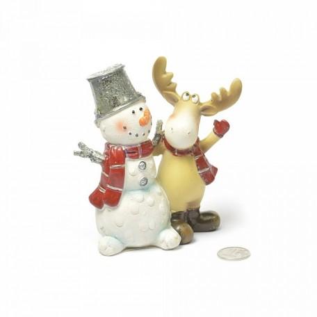 Сувенир Снеговик с лосем полистоун арт.ZA.MY1755-4.5 цв.белый/коричневый/красный 12x5,5x12с