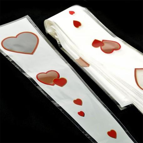 Конус на 1 розу Сердца арт.DF.5038637/131799 15/80 цвет/рис бел/зол/красн уп.50шт