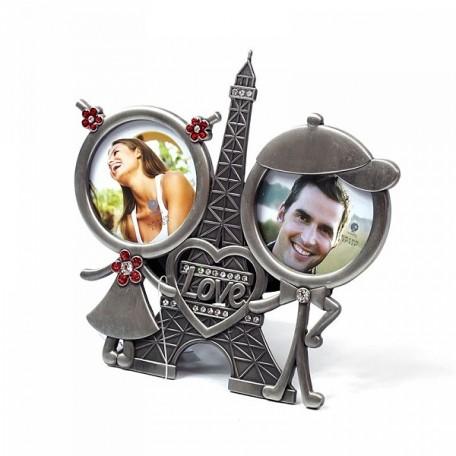 Фоторамка со стразами 'Париж' для 2-х фото арт.723817 (6х6см) 15х14см