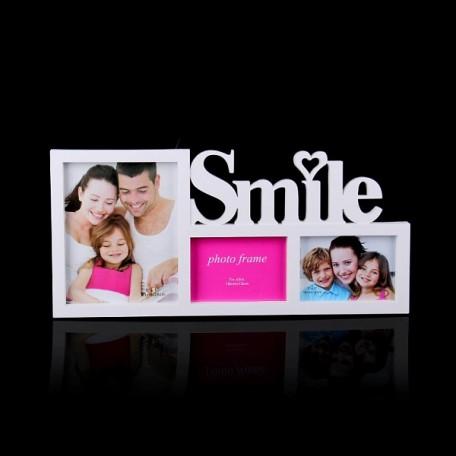 СЛ.1020858 Фоторамка пластик на 3 фото SMILE 13х18, 20х25см 60х28см
