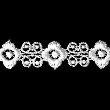Кружево гипюр арт. КМС-№1 шир.16мм цв.белый уп.13.71м