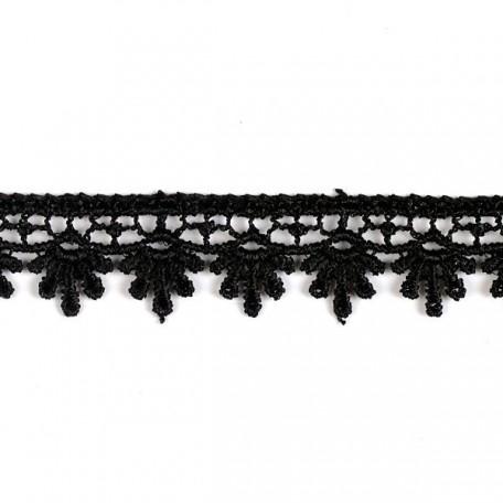Кружево гипюр арт. КМС-1062 шир.16мм цв.черный уп.13.71м