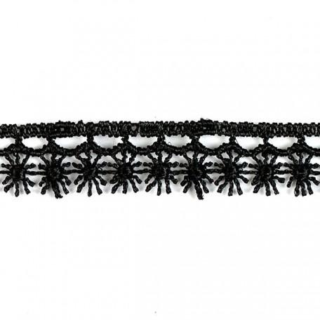 Кружево гипюр арт. КМС-1066 шир.13мм цв.черный уп.13.71м