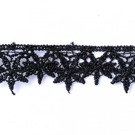 Кружево гипюр арт. КМС-1094 шир.20мм цв.черный уп.13.71м