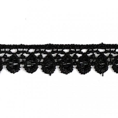 Кружево гипюр арт. КМС-1103 шир.15мм цв.черный уп.13.71м