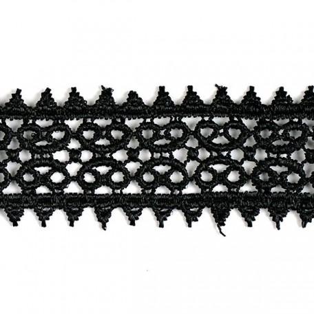 Кружево гипюр арт. КМС-1230 шир.26мм цв.черный уп.13.71м