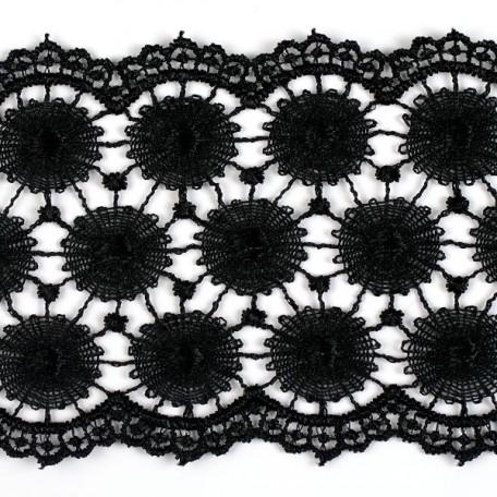 Кружево гипюр арт. КМС-3096 шир.73мм цв.черный уп.13.71м
