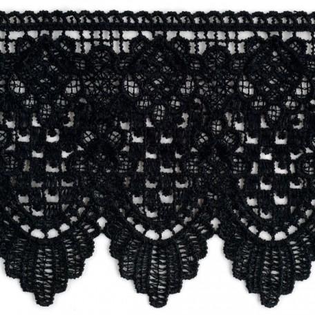 Кружево гипюр арт. TBY-KB-101 шир.125 мм, цв. черный уп.13.71м