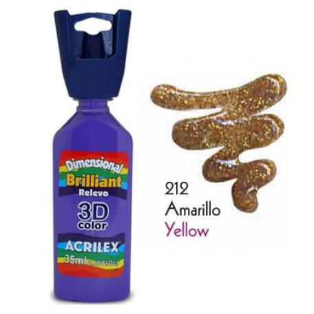 3D контур акриловый с глиттером арт.БФ.ACRILEX.12212.0212 35мл цв.желтый