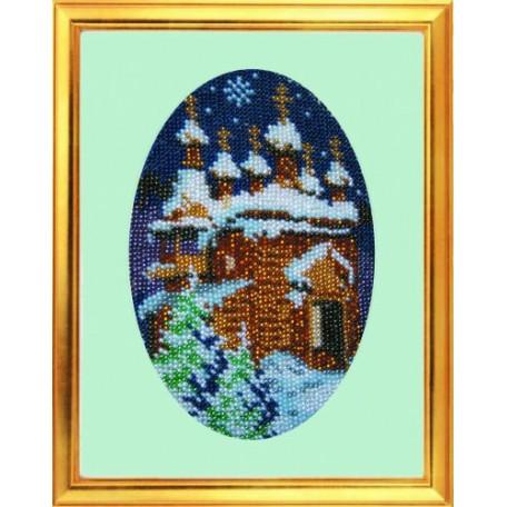 Набор для вышивания бисером 'КАРТИНЫ БИСЕРОМ' арт.К-005 Зимняя ночь 15х20 см