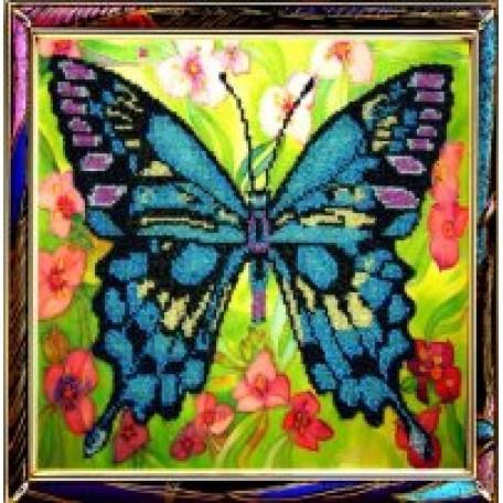 Набор для вышивания бисером 'КАРТИНЫ БИСЕРОМ' арт.Р-008 Синяя Бабочка 25х25см