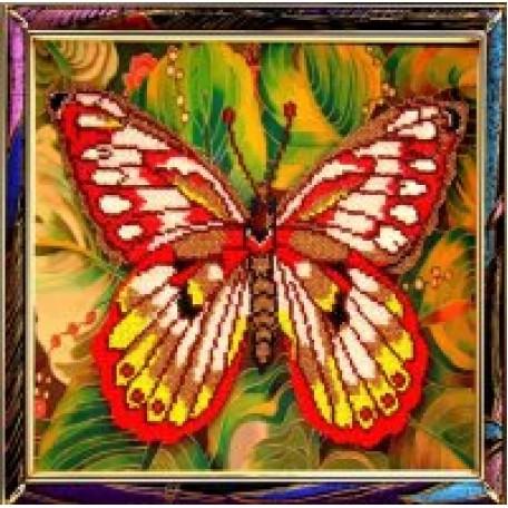 Набор для вышивания бисером 'КАРТИНЫ БИСЕРОМ' арт.Р-009 Красная Бабочка 25х25см