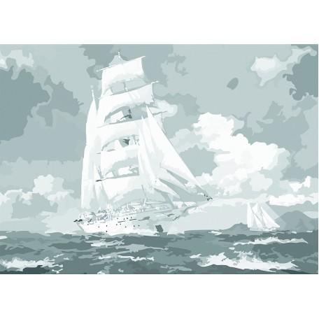 Холст на картоне НП арт.141752 Сонет с эскизом Парусник в море 30х40 см