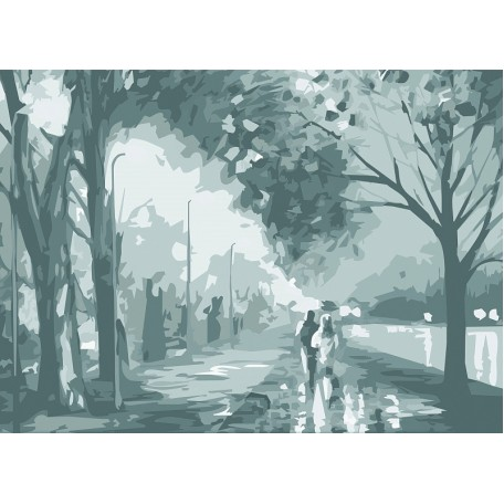 Холст на картоне НП арт.141753 Сонет с эскизом Осенняя прогулка 30х40 см