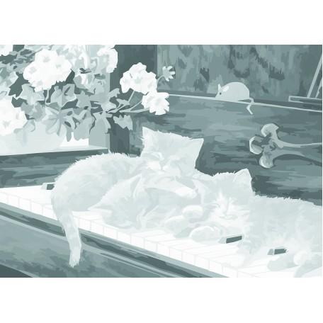 Холст на картоне НП арт.141758 Сонет с эскизом Котята 30х40 см