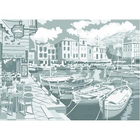 Холст на картоне НП арт.141759 Сонет с эскизом 'Городок у моря' 30х40 см