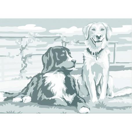 Холст на картоне НП арт.141764 Сонет с эскизом Собаки 30х40 см