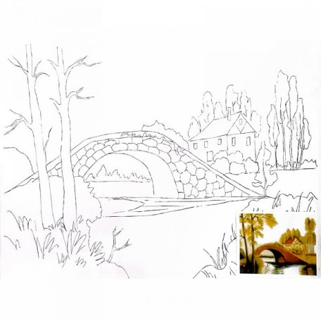 Холст на картоне НП арт.DK13701-D с контуром Мост 30х40 см