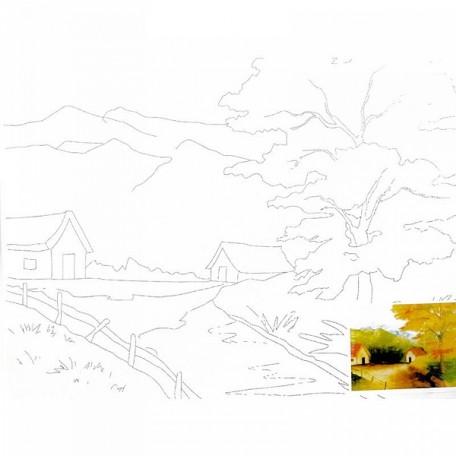 Холст на картоне НП арт.DK13701-J с контуром деревенский пейзаж 30х40 см