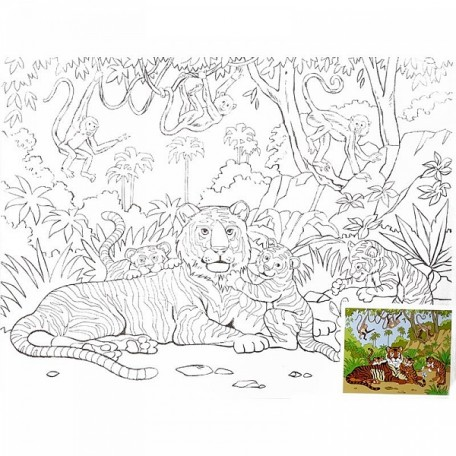 Холст на картоне НП арт.DK13701-K с контуром Cемья тигров 30х40 см