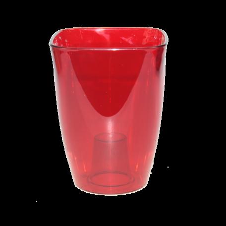 FPL.015801 Кашпо для орхидей квадр.12,7х12,7 h16,8см прозр.красный