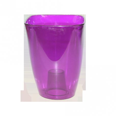 FPL.015802 Кашпо для орхидей квадр.12,7х12,7 h16,8см прозр.фиолетовый