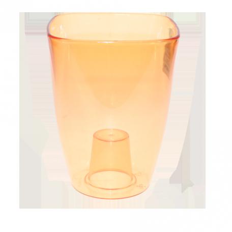 FPL.022545 Кашпо для орхидей квадр.12,7х12,7 h16,8см прозр.оранж