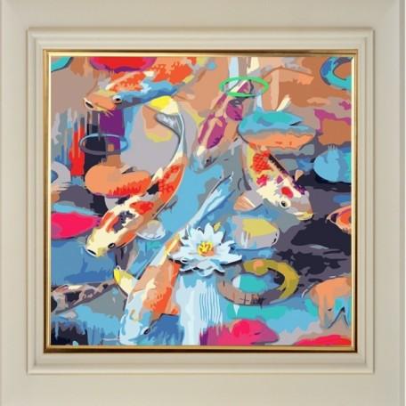 Набор 'Колор Кит' картина по номерам арт.КК.AC003 Радужные рыбки 30х30