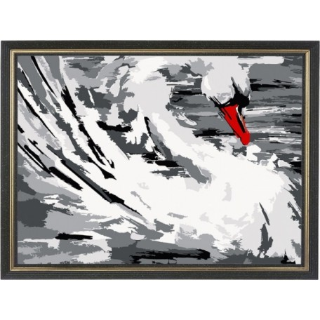 Набор 'Колор Кит' картина по номерам арт.КК.AM002 Белый лебедь 30х40