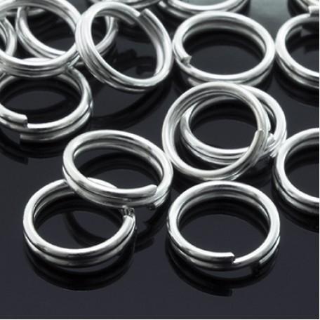 Колечки Двойные металл арт. МБ.УТ3245 цв.серебро 7х0,7 мм 50г/около 380 шт.