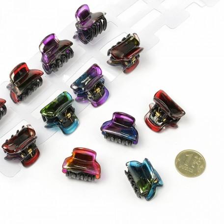 Краб для волос арт.MS.AV.K.CH1386/1 размер 1,5х2,5 см цв. разноцветный уп.12 шт