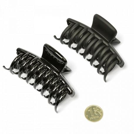 Краб для волос арт.MS.AV.K.CH2485 7 см х 4,5 см размер 6х4 см цв.черный матовый и глянец уп.12 шт