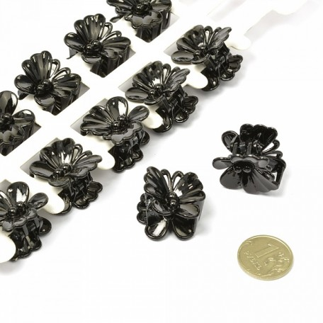 Краб для волос арт.MS.AV.K.F12 бабочка размер 2х2 см цв. черный уп.12 шт