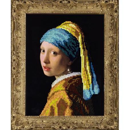 Набор для вышивания бисером 'КРАСА И ТВОРЧЕСТВО' арт.10716 Девушка с серьгой 15,4х20 см