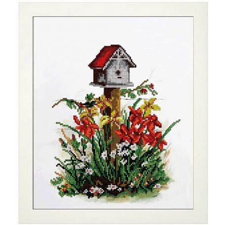 Набор для вышивания бисером 'КРАСА И ТВОРЧЕСТВО' арт.10816 Цветы 7 20,7х24,9 см