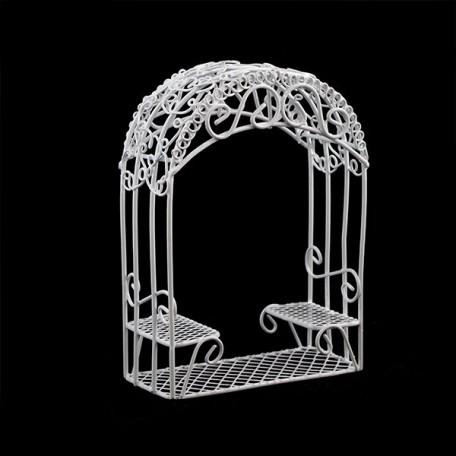 Беседка садовая арт. SCB27040 металл 5х4х12см белая мини