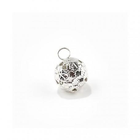 Бубенчик 12мм 'Шар граненый' цв.серебро фурнитура для игрушек уп.50 шт