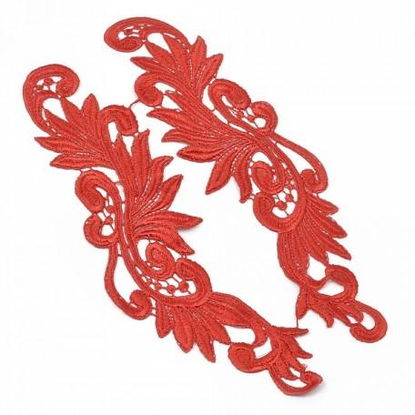 Лейсы пришивные арт.ISK.1699.04 уп.2шт. цв.красный 8x27см