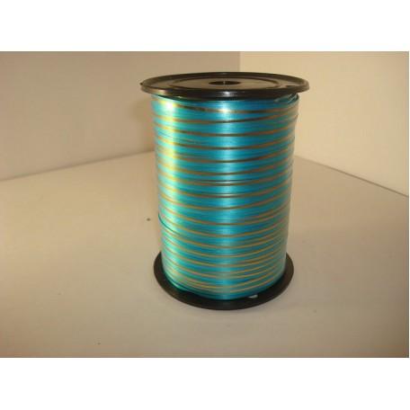 RUG.A0532 Лента с золотой полосой 0,5см х 250ярд цв.голубой