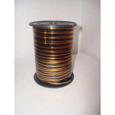RUG.A0535 Лента с золотой полосой 0,5см х 250ярд цв.черный