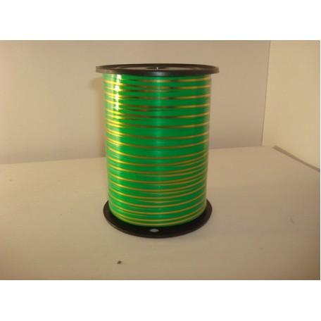 RUG.A0542 Лента с золотой полосой 0,5см х 250ярд цв.зеленый