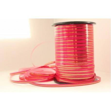 RUG.A0544 Лента с золотой полосой 0,5см х 250ярд цв.яр.розовый