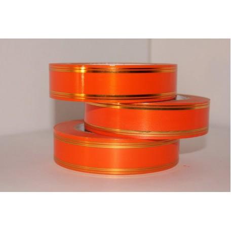 RUG.A3029 Лента с золотой полосой Классика (полосы по краю) 3см х 50ярд цв.оранжевый